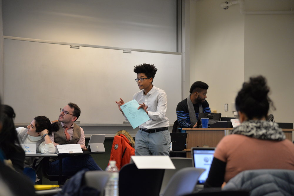 The graduate student senate met for their weekly meeting in the Rowe building on Wednesday, Feb. 1, 2016. The senate discussed the current political climate involving visa students and the current GSS president resigned. (Amar Batra/The Daily Campus)