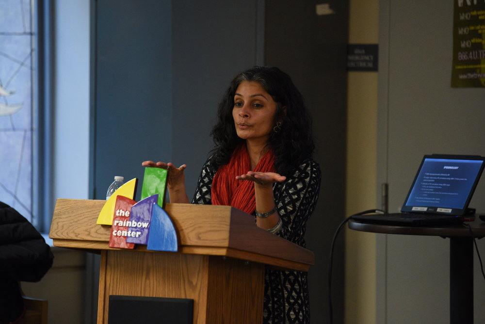 Monika Doshi, the Principal of Saath, a small public health consulting firm based in Connecticut, gives a talk in the SU Rainbow Center, UConn Storrs campus on Wednesday. This talk focused on the global HIV/AIDS epidemic and sexual minorities, specifically men who have sex with men (MSM). (Zhelun Lang/The Daily Campus)