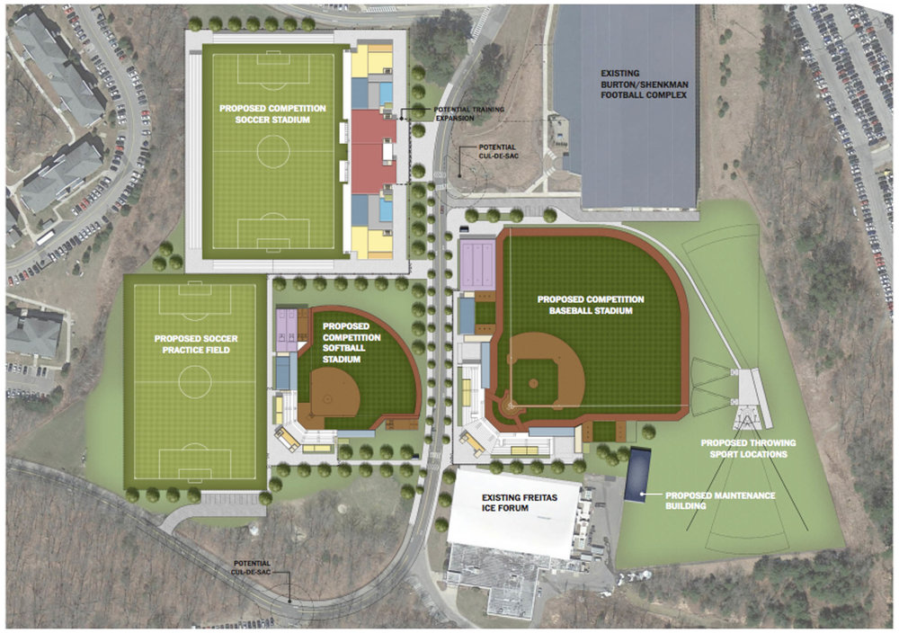The proposed changes by architecture firm Populous for the plans for a new soccer, baseball and softball stadium as well as renovations to Freitas Ice Forum. (Image courtesy of UConn)