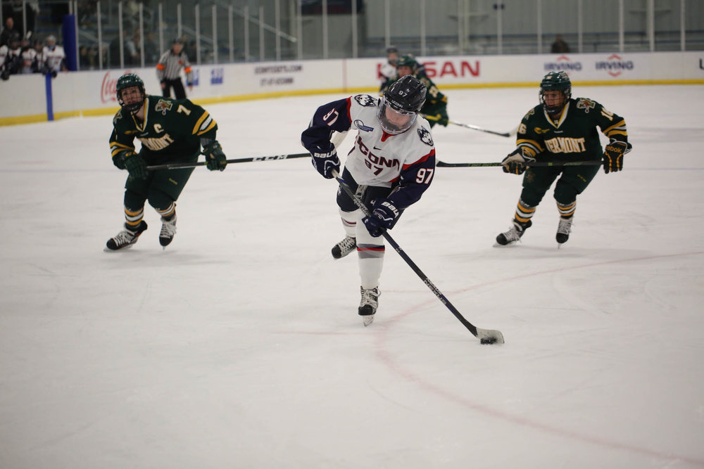 Freshman forward Catherine Crawley (97) lines up a shot during the Huskies loss to the Vermont Catamounts 4-2 on Friday, Jan. 27, 2017 at Freitas Ice Forum. (Tyler Benton/The Daily Campus)
