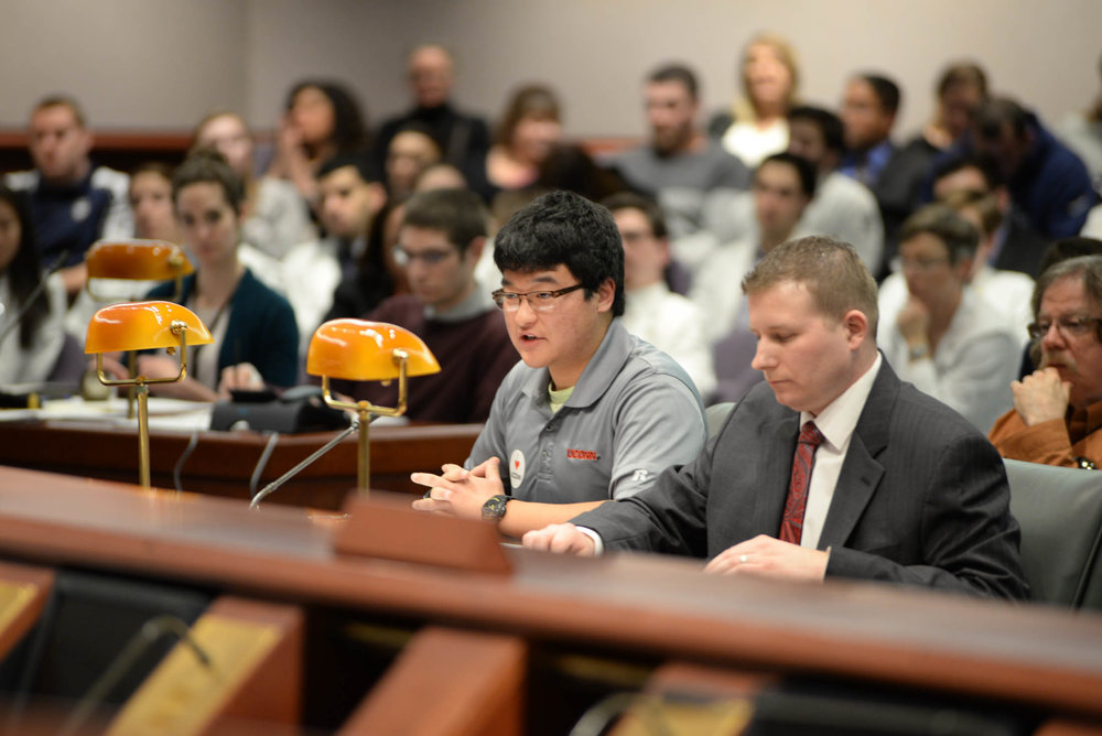 Members of the UConn student body and almuni networrk gather at the Capital on Febrary 10, 2016 to speak in front of the Appropriations committee in order to discuss the lack of money UConn will be recieving in the upcoming years. (Amar Batra/The Daily Campus)