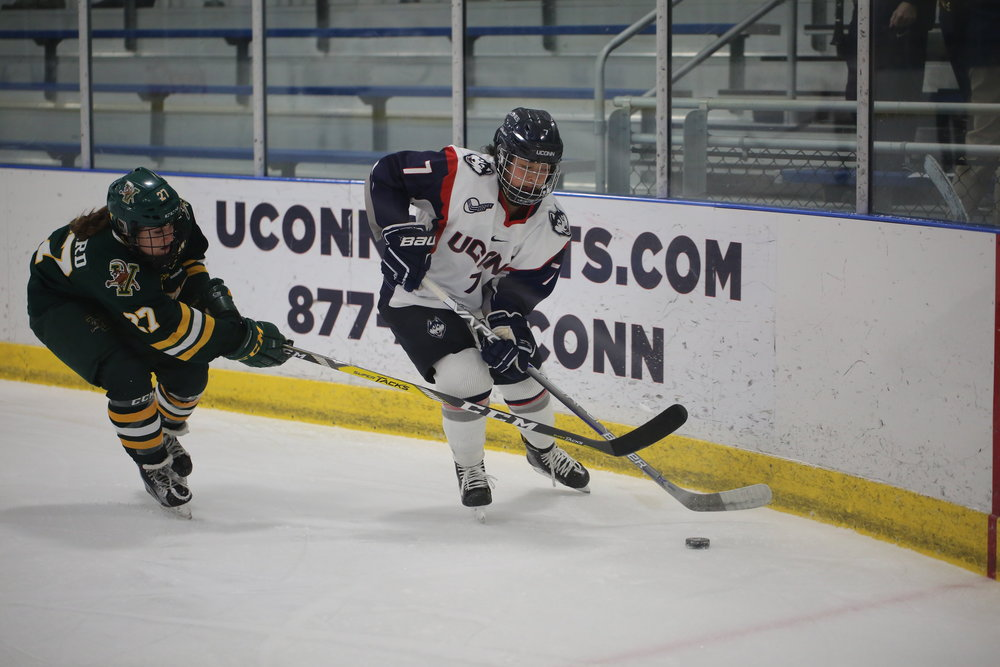 The Huskies were defeated by the Vermont Catamounts 4-2 Friday January 27 at Freitas Ice Forum in Storrs. UConn goals scored by #7 Leah Lum and #61 Briana Colangelo. (Tyler Benton/The Daily Campus)