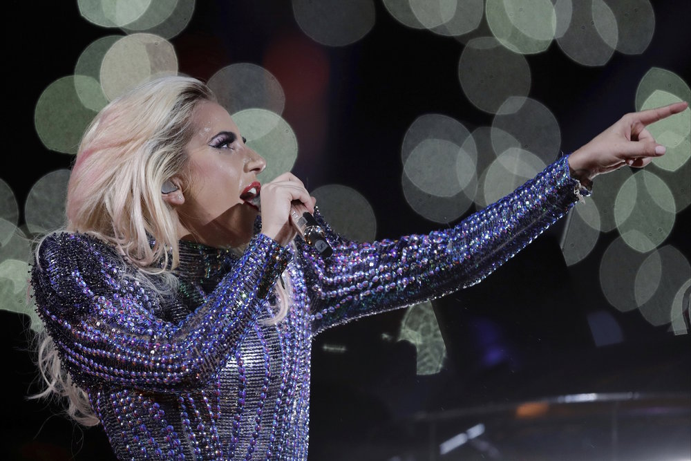 Singer Lady Gaga performs during the halftime show of the NFL Super Bowl 51 football game between the New England Patriots and the Atlanta Falcons, Sunday, Feb. 5, 2017, in Houston. (Darron Cummings/AP Exchange)