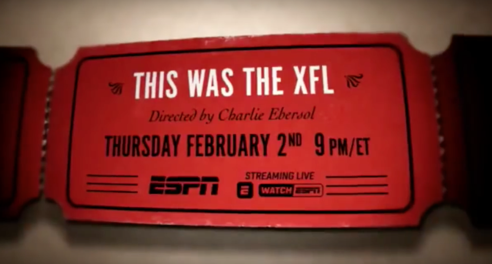"ESPN's documentary series ""30 for 30"" aired an episode on the failed football league, the XFL. (Image via screen grab of 30 for 30 trailer/Youtube)"