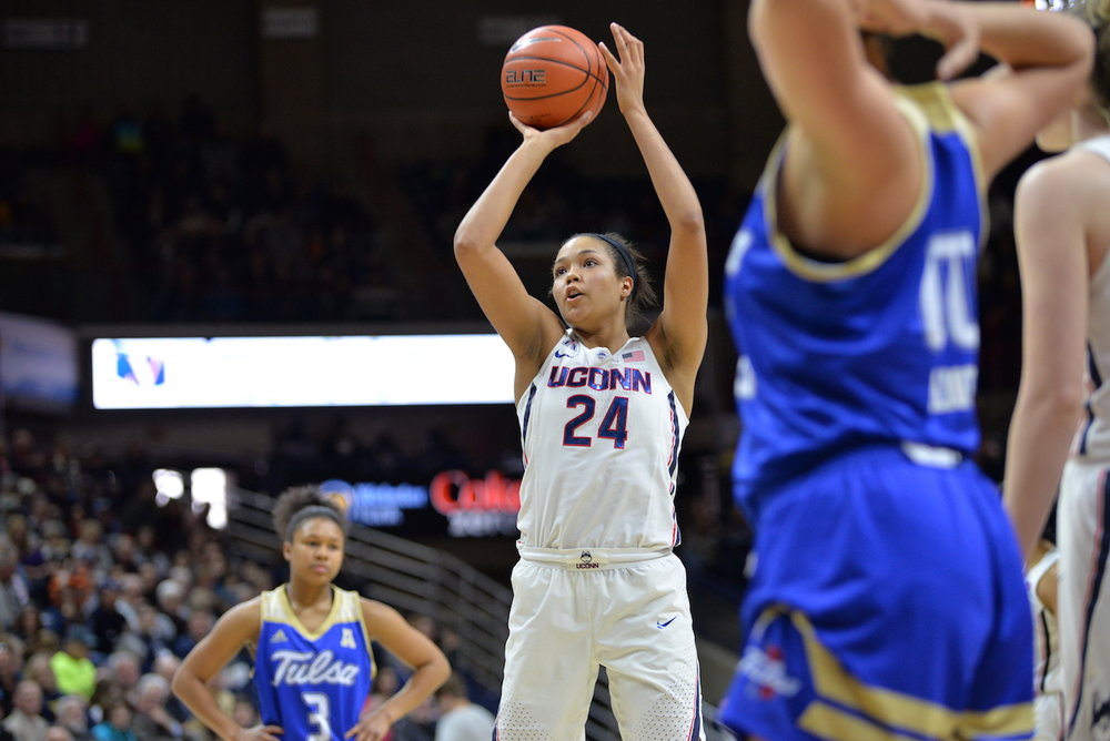The UConn women's basketball defeats the Tulsa Golden Hurricanes 96-50 at Gampel Pavilion on Sunday, Feb. 5, 2017. Napheesa Collier lead the huskies with 24 points. (Amar Batra/The Daily Campus)