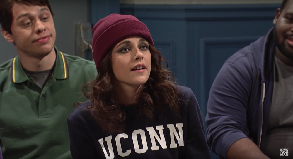 Actress Kristen Stewart hosted Saturday Night Live on Sat., Feb. 4, 2016 with musical guest Alessia Cara. One skit drew attention from the UConn community: a sketch about a bunch of students who had been written up for alcohol violations and one student in particular (Stewart) who blows the rest out of the water. The sketch was based at UConn. (Screenshot/SNL NBC YouTube)