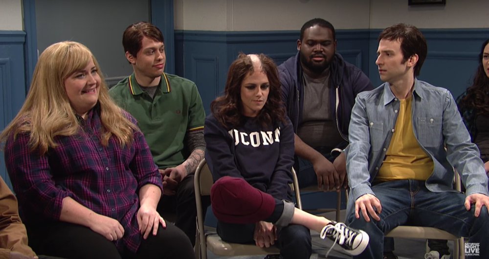 "Actress Kristen Stewart on Saturday Night Live on Sat., Feb. 4, 2016 sporting a ""nohawk,"" like a mohawk but with the hair down the middle missing. (Screenshot/SNL NBC YouTube)"