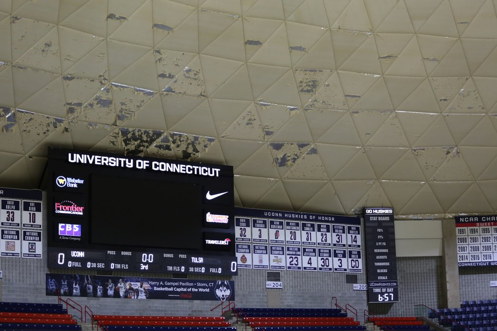 Interior roof of Gampel Pavilion deteriorates throughout the basketball season.  The University plans to renovate the roof in May. (Tyler Benton/The Daily Campus)