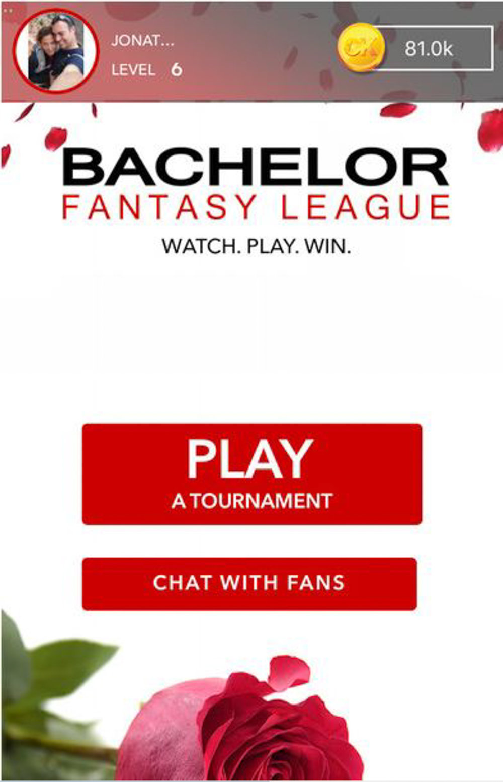 The Bachelor Fantasy League updates in real time, right along with the action in the episode, allowing you to keep track of your score while you watch the show. (Screenshot for Apple App Store)