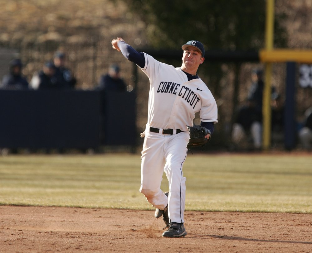 Mike Olt makes a throw in a March 20th, 2009 game against Holy Cross. (File Photo/The Daily Campus)