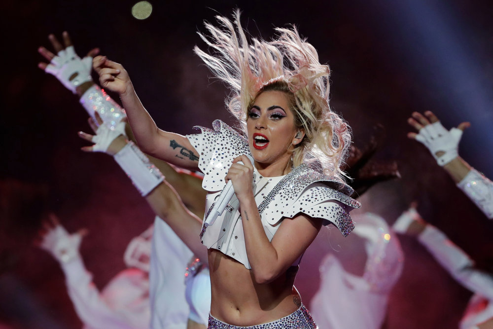 Singer Lady Gaga performs during the halftime show of the NFL Super Bowl 51 football game between the New England Patriots and the Atlanta Falcons, Sunday, Feb. 5, 2017, in Houston. (Matt Slocum/AP)