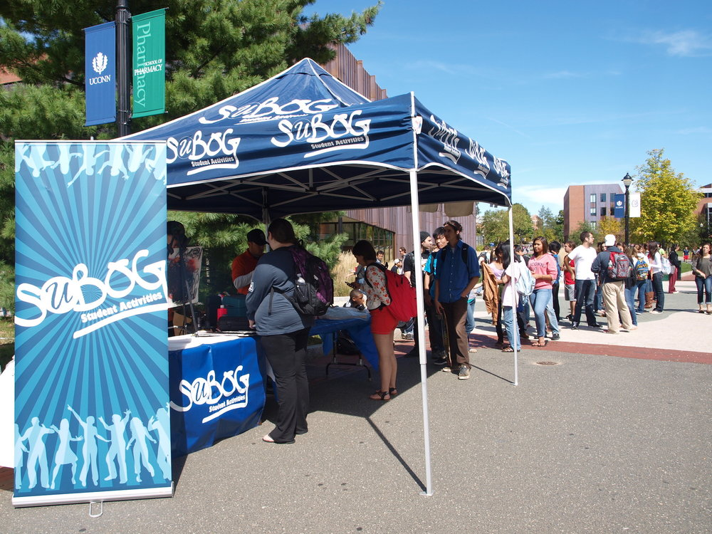 SUBOG set up a booth on Fairfield Way for an airbrush decorating for backpacks event. Applications for the SUBOG Executive Board are now open. (File Photo/The Daily Campus)