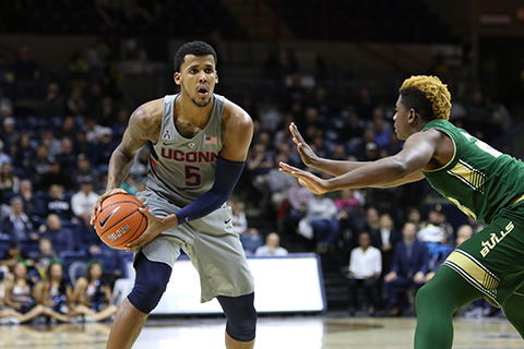 The UConn men's basketball team defeated USF 97-51 on Wednesday night at Gampel Pavilion. Rodney Purvis led the Huskies with 23 points. (Jackson Haigis/ The Daily Campus)