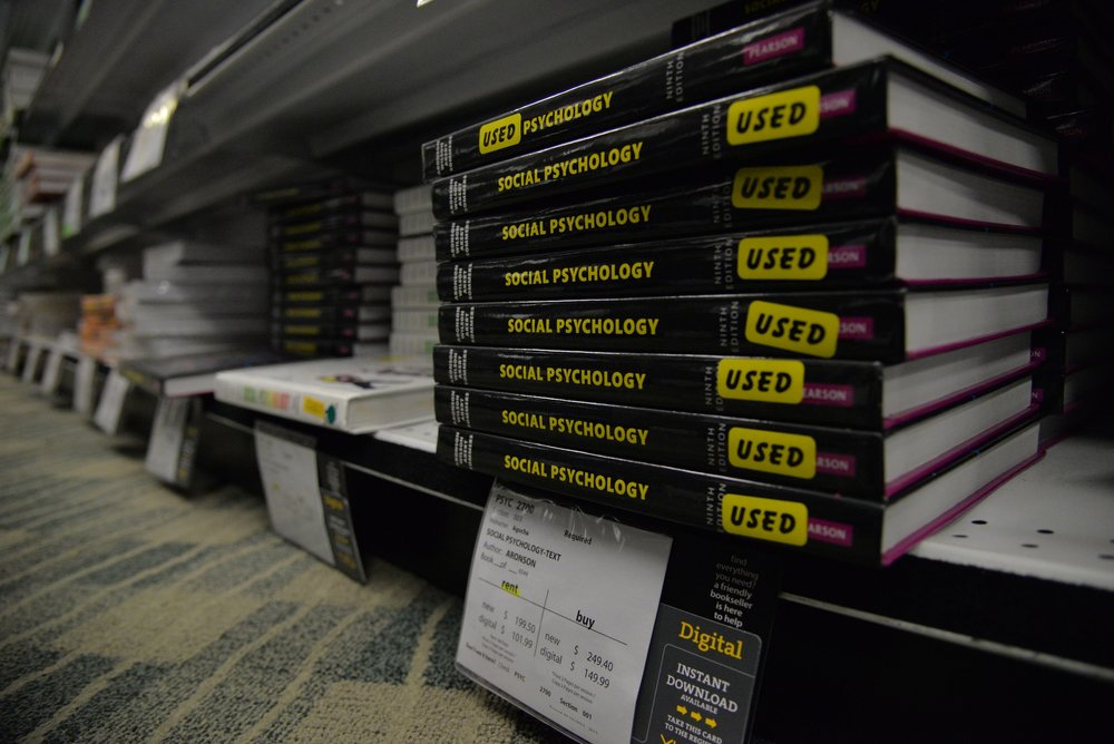 Used and new textbooks available for purchase in the UConn bookstore. There have been controversies with used books being more expensive in store than they are online. (Amar Batra/The Daily Campus)