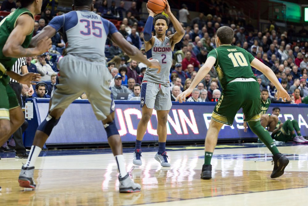 UConn takes on the South Florida Bulls Wednesday evening at Gampel Pavilion.  The Huskies crushed the Bulls in their 97-51. (Tyler Benton/The Daily Campus)