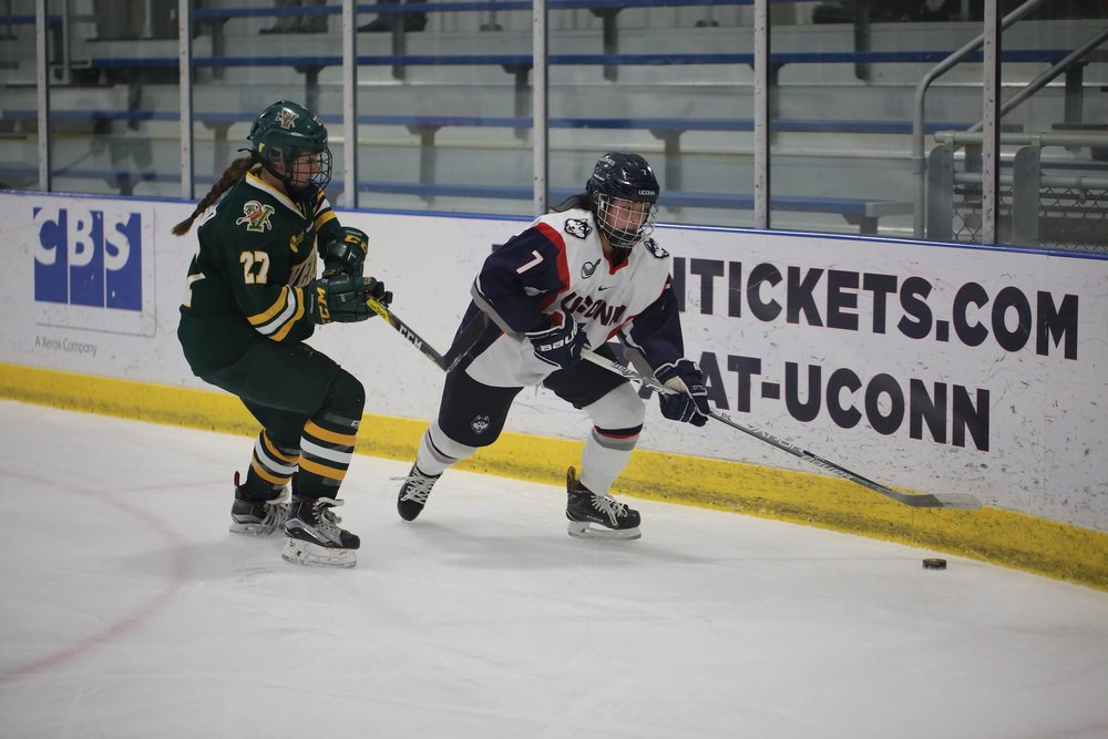 The Huskies are defeated by the Vermont Catamounts 4-2 Friday at Freitas Ice Forum in Storrs. The Huskies look to play Vermont again tomorrow at home. UConn goals scored by #7 Leah Lum and #61 Briana Colangelo. (Tyler Benton/The Daily Campus)