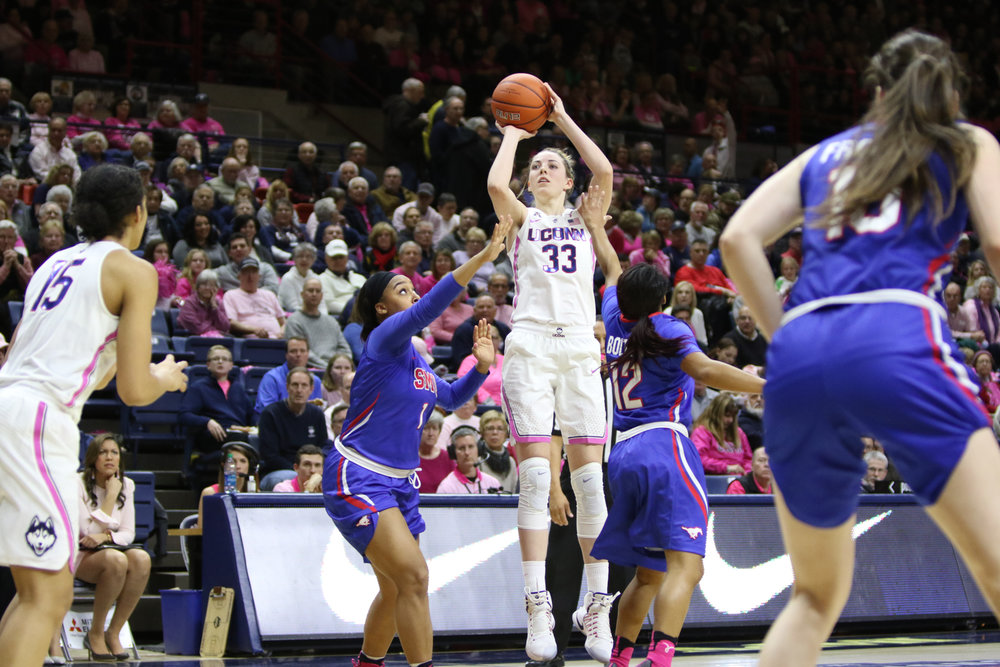 UConn's Katie Lou Samuelson spots up for a three-pointer during the second half of the Huskies' 83-41 win over SMU. Samuelson led all scorers with 22 points. (Jackson Haigis/The Daily Campus)