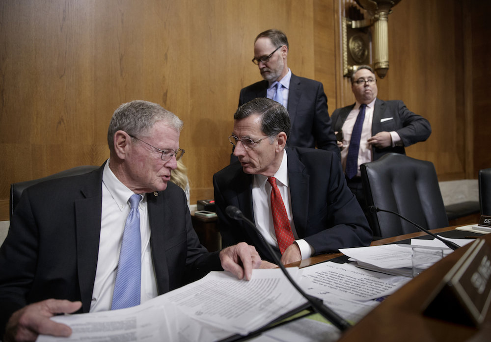 Senate Environment and Public Works Committee Chairman Sen. John Barrasso, R-Wyo., right, confers with Sen. James Inhofe, R-Okla. on Capitol Hill in Washington, Wednesday, Feb. 1, 2017, as the panel recesses following a boycott by Democrats to thwart the confirmation vote on on Capitol Hill in Washington, Wednesday, Feb. 1, 2017 (EPA) Administrator-designate Scott Pruitt. (AP Photo/J. Scott Applewhite) on Capitol Hill in Washington, Wednesday, Feb. 1, 2017