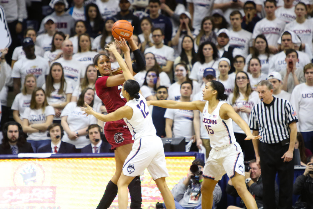 Saniya Chong defends South Carolina's Mikiah Herbert Harrigan during the second half. (Jackson Haigis/The Daily Campus)