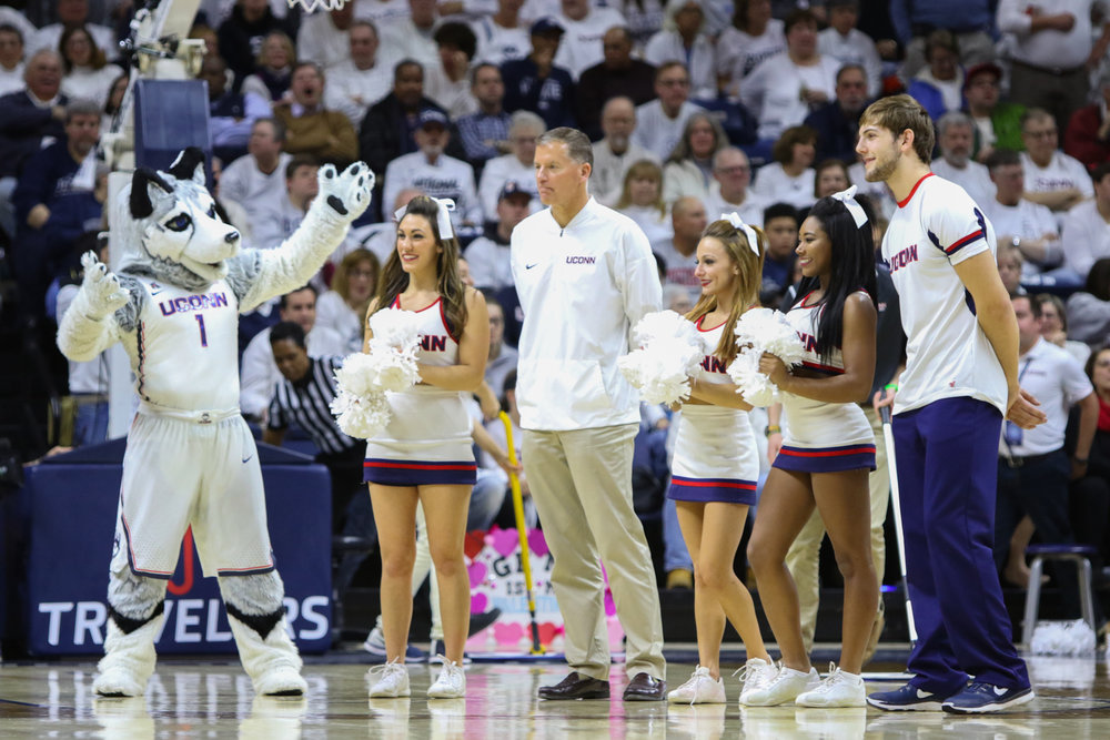 UConn football coach Randy Edsall was introduced during a TV timeout. Edsall was hired to replace Bob Diaco on December 28th. (Jackson Haigis/The Daily Campus)