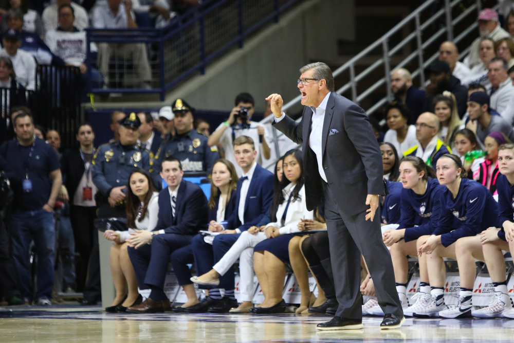 Geno Auriemma reacts to a call in the first half of UConn's victory over South Caroline on Monday, February 13th. (Jackson Haigis/The Daily Campus)
