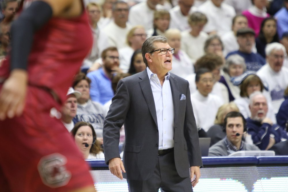 Geno Auriemma reacts to a foul call against UConn on Monday night at Gampel Pavilion. (Jackson Haigis/The Daily Campus)