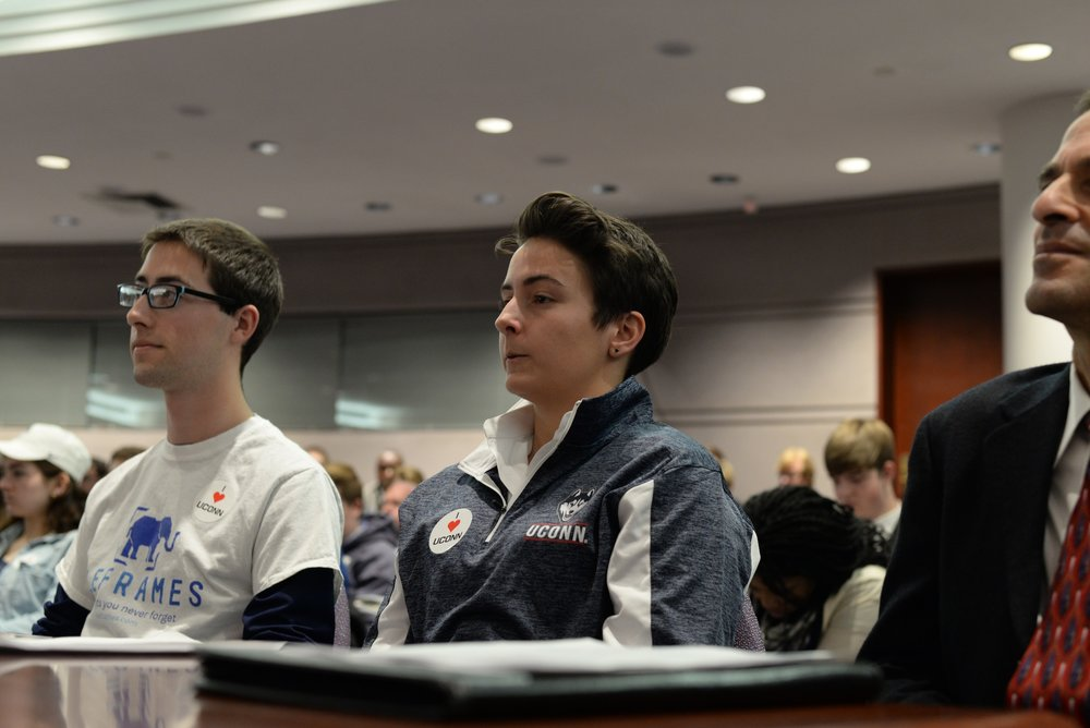 Former USG president Rachel Conboy attends a meeting of the appropriations committee at the Connecticut state capitol on February 10th, 2016. Members of USG will visit the capitol on Wednesday. (Amar Batra/The Daily Campus)