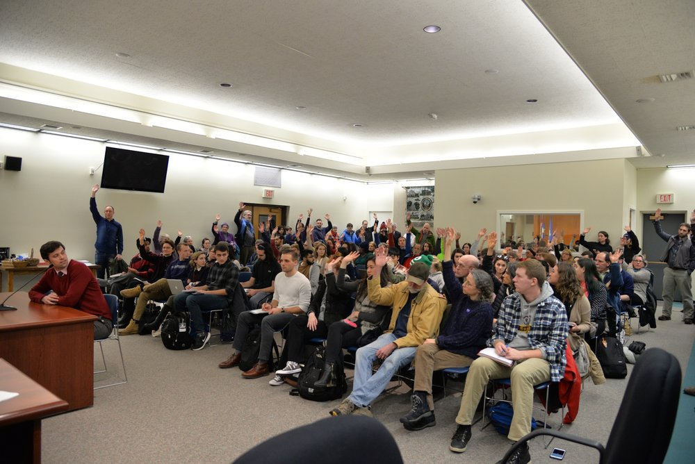 The Mansfield town council votes to make Mansfield a sanctuary city during their weekly meeting on Tuesday, Feb. 14, 2017. The policy was passed after much support from town members. (Amar Batra/The Daily Campus)