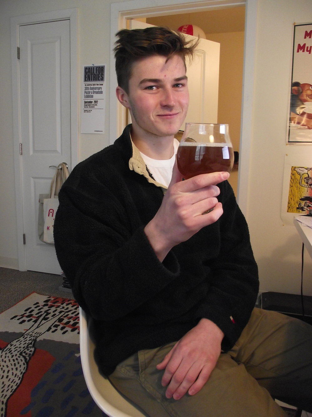 Steve Bogdan is a communications major at UConn as well as a home brewer. His latest creation is called Gone Off Tabs, a North Eastern-style IPA. (Dan Wood/The Daily Campus)