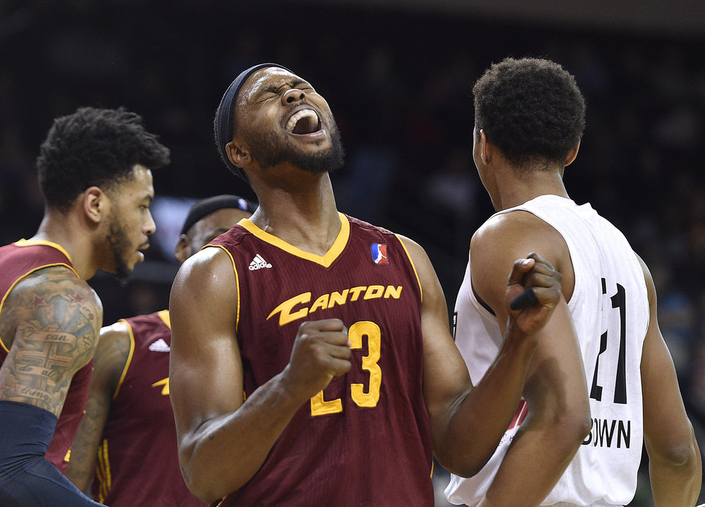 Canton Charge forward Chris Evans reacts after missing a shot against the Erie BayHawks during an NBA D-League basketball game Saturday, Feb. 4, 2017, in Erie, Pa. [Dave Munch/AP)