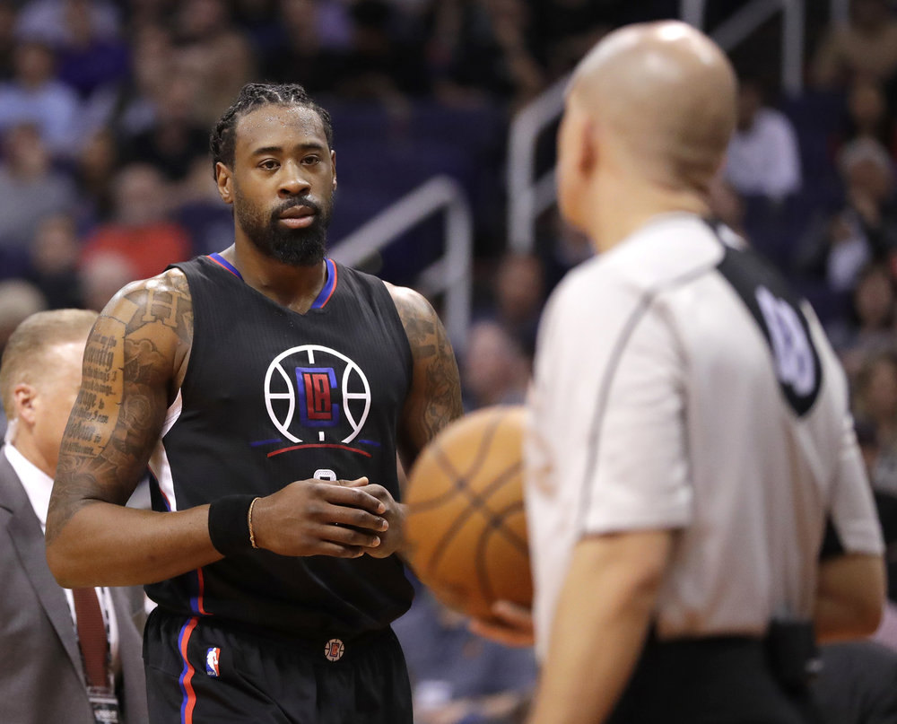 Los Angeles Clippers center DeAndre Jordan stares at a referee as he leaves the court after a flagrant foul call during the second half of the team's NBA basketball game against the Phoenix Suns, Wednesday, Feb. 1, 2017, in Phoenix. Jordan will be joining many others in the celebrity all-star game. (Matt York/ AP)