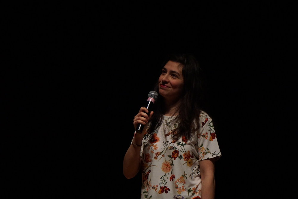 Comedian Melissa Villaseñor performs in the Student Union Theater during the Wednesday, Feb. 15, 2017 comedy show, presented by SUBOG. Villaseñor is a regular cast member on Saturday Night Live. (David Anastasio/The Daily Campus)