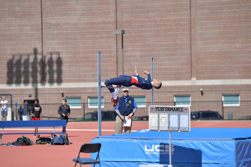 A high jumper participates in the the 2016 Husky Invitational where the men's track and field team was victorious over Northeastern, Buffalo, Rhode Island, Albany and Southern Connecticut State University. (Amar Batra/The Daily Campus)