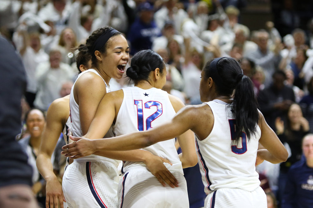 Napheesa Collier (left) and her teammates react to a second-half foul call on South Carolina on Monday, Feb. 13, 2017 at Gampel Pavilion. Collier scored a team-high 26 points in UConn's narrow win over Tulane. (Jackson Haigis/The Daily Campus)