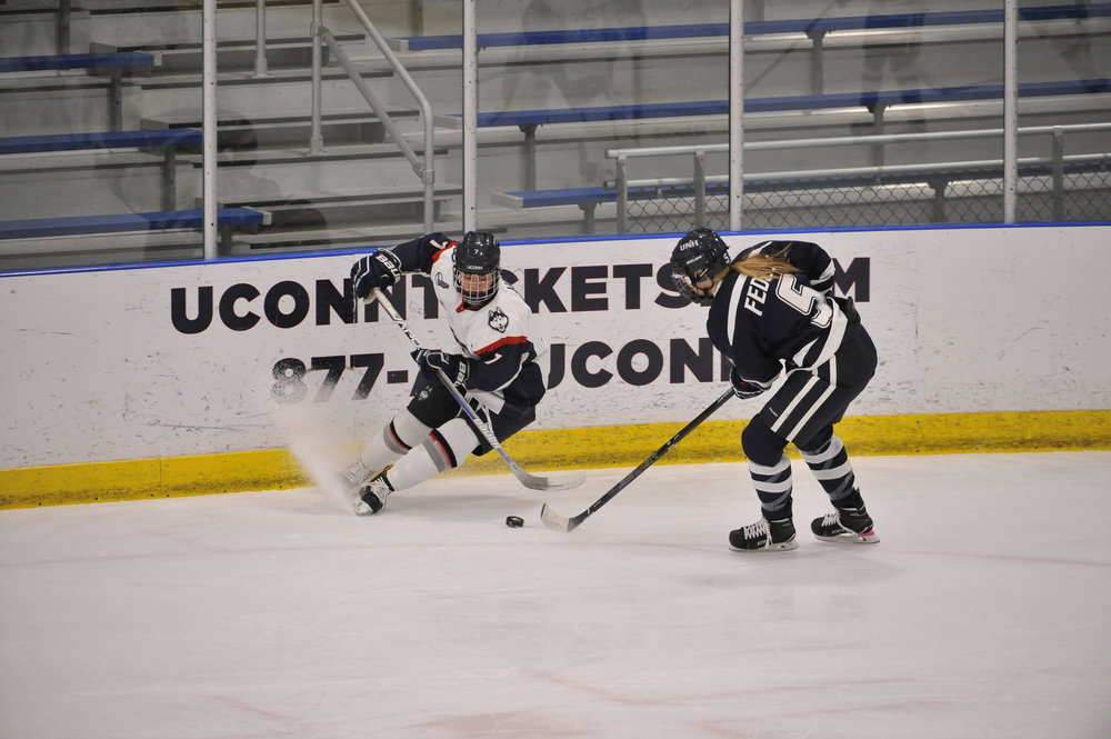 The women's hockey team falls to UNH 4-1 at the Freitas Ice Forum on Friday, Feb. 17, 2107. Junior Cydnee Cook (Winnipeg, Manitoba) notched her first career goal to give UConn a 1-0 lead 4:57 into the first period. (Jason Jiang/The Daily Campus)
