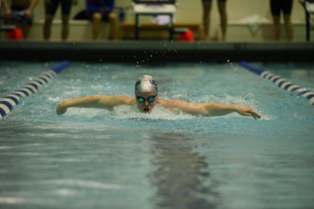 A UConn swimmer races in the Butterfly during the Huskies' meet on February 4, 2017. (Zhelun Lang/The Daily Campus)