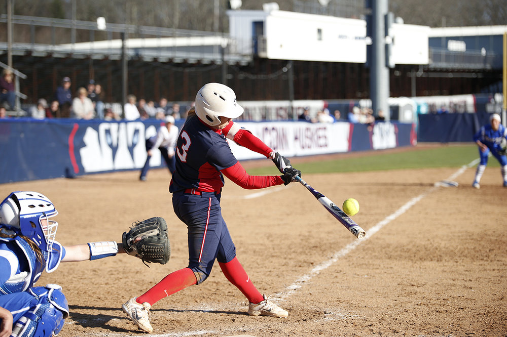 Alyson Ambler makes contact during UConn's 6-0 win over CCSU at the Burrill Family Field on Wednesday April 13, 2016. The Huskies are off to a 2-2 start in the 2017 season. (Tyler Benton/The Daily Campus)