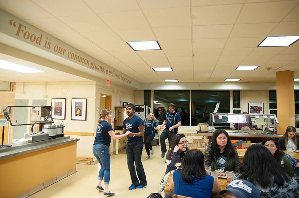 The UConn Swing and Blues club performing a flash mob in Edwina Whitney Dining Hall on Monday night. (photo courtesy of Abishek arokiadoss/UConn Swing and Blues)