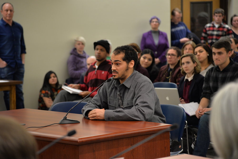 The Mansfield town council votes to make Mansfield a sanctuary city during their weekly meeting on Tuesday, Feb. 14, 2017. The policy was passed after much support from town members, including Miles Wilkeson (pictured here). (Amar Batra/The Daily Campus)