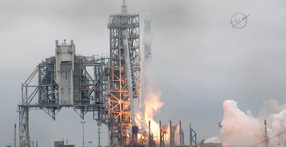 In this image from NASA TV, the SpaceX Falcon rocket launches from the Kennedy Space Center in Florida on Sunday, Feb. 19, 2017. It's carrying a load of supplies for the International Space Station. (NASA TV/AP)