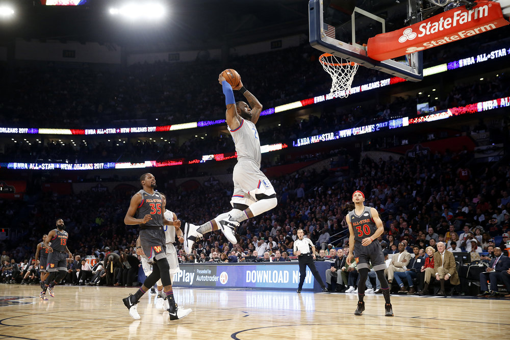 Eastern Conference LeBron James of the Cleveland Caveliers (23) goes to the basket during the first half of the NBA All-Star basketball game in New Orleans, Sunday, Feb. 19, 2017.  LeBron is another candidate nominated by our writers. (Gerald Herbert/ AP)