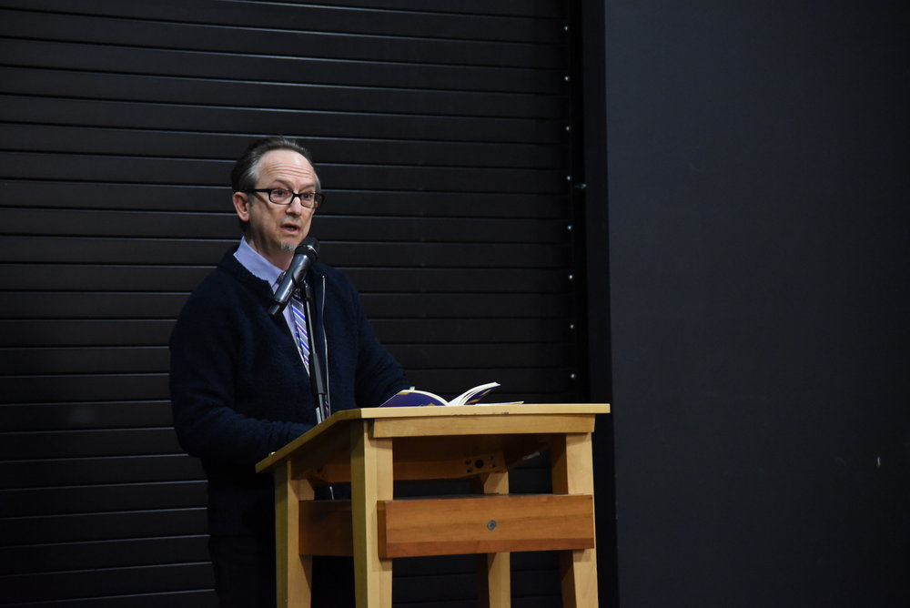 "Barnes and Noble in Storrs Center was full of students and professors listening to author and poet Alan Michael Parker read some of his own publications. He read some of his new poems from ""The Ladder."" ( Charlotte Lao/The Daily Campus)"