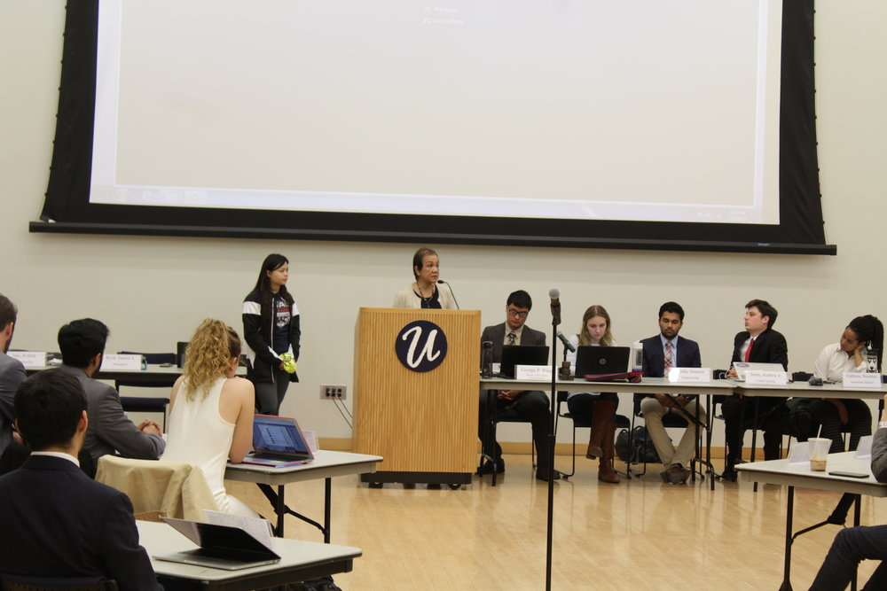 USG Senate met in the SU Ballroom to discuss their agenda for the semester on Wednesday evening. A budget was proposed for the next two years, which included cuts across the board for committees. (Jordan Richardson/The Daily Campus)