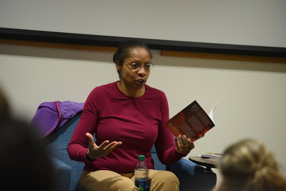 Allison Joseph reads from her poetry collections at 6 p.m. on Thursday, February 23, in the Stern Lounge, room 217 in the Philip E. Austin Building at the University of Connecticut. She also gave a talk as part of the âWriters Who Edit, Editors Who Writeâ series where she discussed the balance between creative and editorial work. (Zhelun Lang/The Daily Campus)