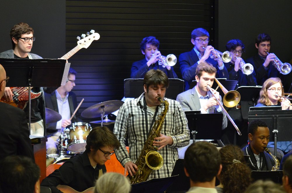 Various jazz groups at UConn gathered at the completely packed UConn Bookstore in Storrs Center Thursday evening to present a collective showcase filled with lively hits from Herbie Hancock, Wes Montgomery, and other composers. (Akshara Thejaswi/The Daily Campus)