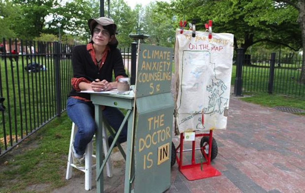 Poet, writer, teacher and activist, Kate Schapira, showcases her Climate Anxiety Counseling. (Photo courtesy of Coldfront)