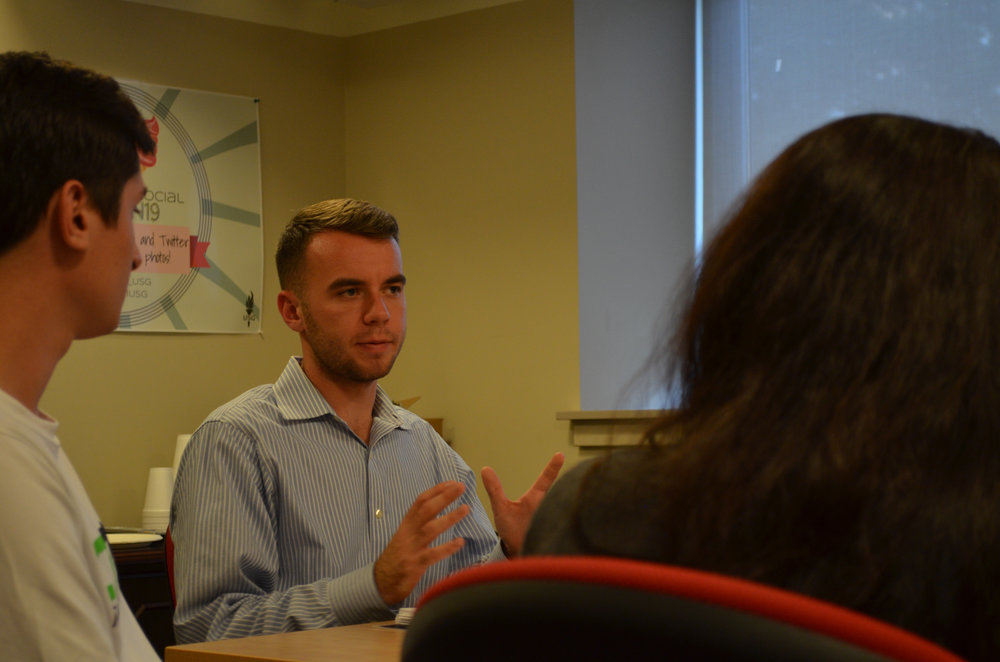Undergraduate student representative and senior political science major Adam Kuegler, meets with other UConn students from the regional campuses on Sept. 27, 2016. (Akshara Thejaswi/The Daily Campus)