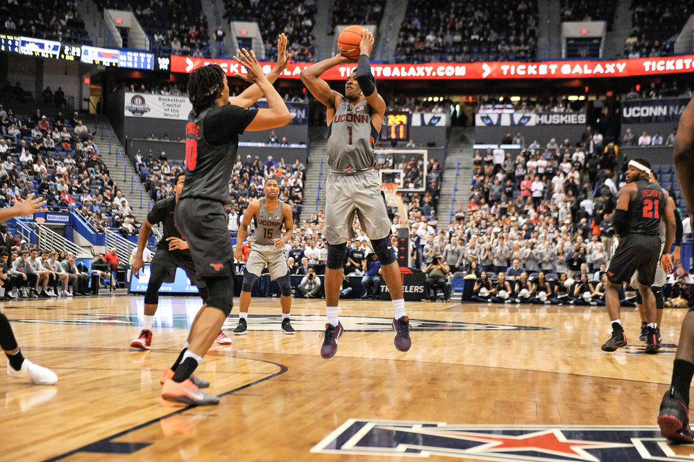 UConn guard Christian Vital rises for a jump shot during Saturday's loss to SMU at the XL Center in Hartford. (Jason Jiang, Associate Photo Editor/The Daily Campus)