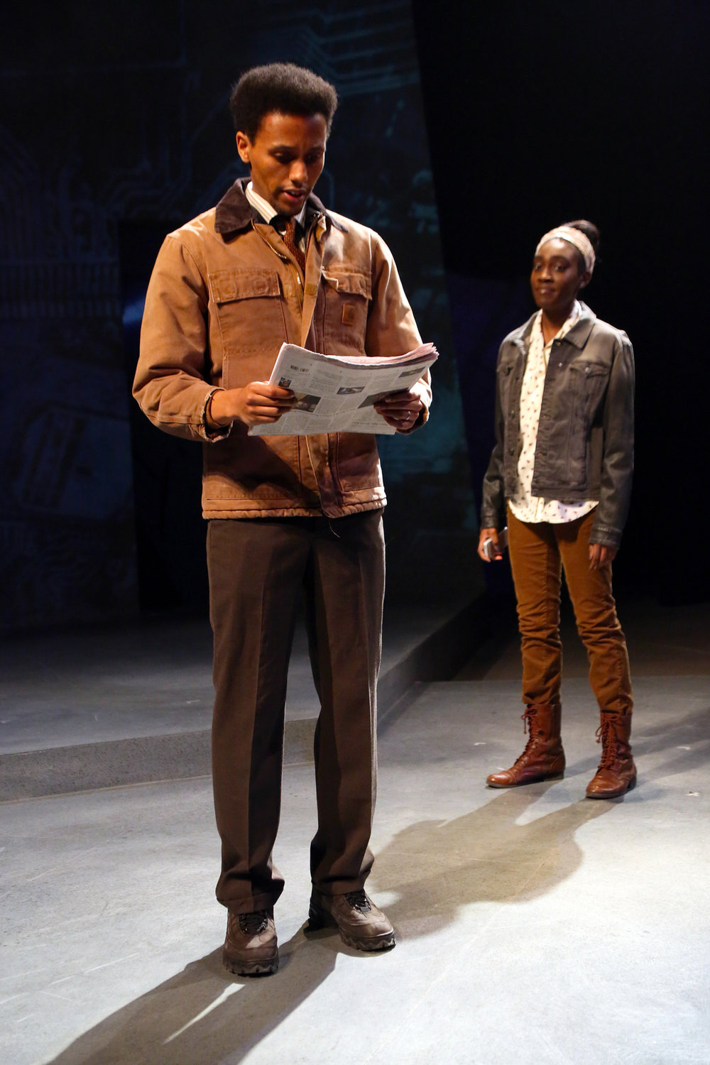 Samuel Kebede  and Shavana Clarke  in SEVERANCE by Levi Alpert (BA Theatre Studies '15) onstage thru March 5 in Connecticut Repertory Theatre's Nafe Katter Theatre. (Gerry Goodstein/Connecticut Repertory Theatre)