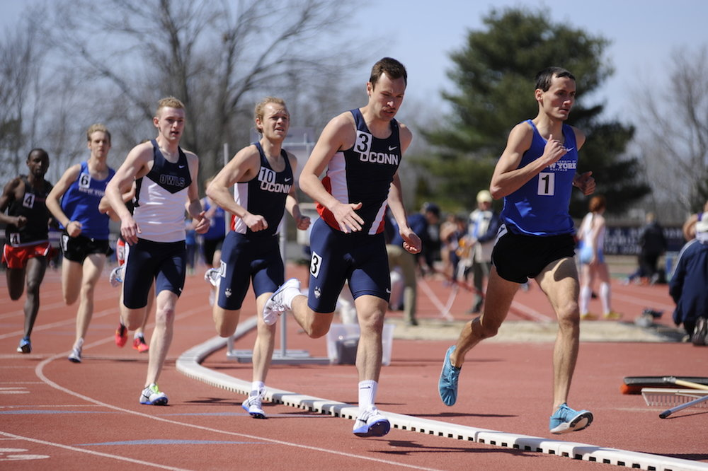 The UConn men's indoor track and field team pulled ahead of Tulsa in come-from-behind fashion to claim second in the American Athletic Conference Championship over the weekend. (Jason Jiang/The Daily Campus)